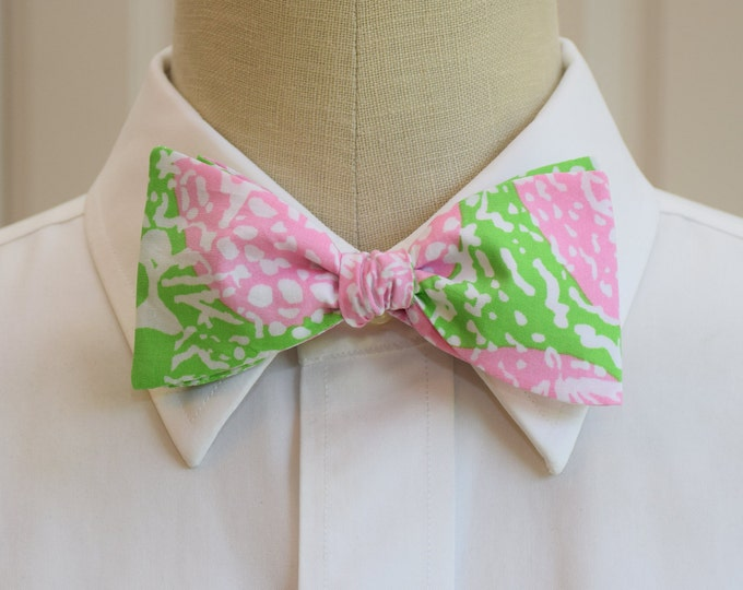 Men's Bow Tie, Cheat Ya pink/lime Lilly print bow tie, wedding bow tie, prom bow tie, groom/groomsmen bow tie, tuxedo accessory, preppy tie