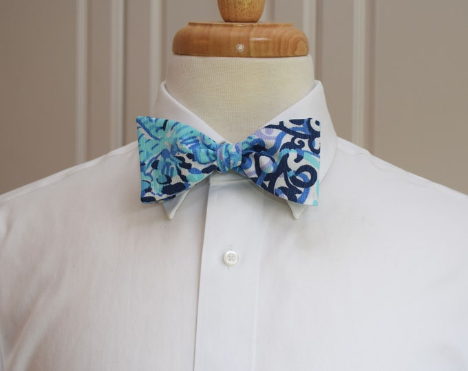 Men's Bow Tie, Spritz aqua/blues/navy, Lilly 2019, wedding/groom/groomsmen bow tie, Kentucky Derby bow tie, prom bow tie, tuxedo accessory