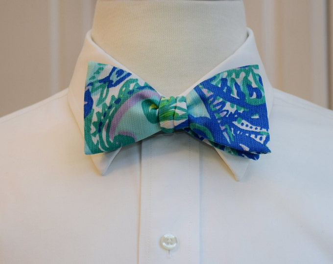 Men's Bow Tie, Keep It Current blue/green/aqua Lilly print bow tie, groomsmen/groom bow tie, wedding bow tie, prom bow tie, tux accessory