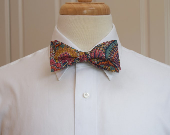 Men's Bow Tie, Liberty London Peacock Parade orange/teal/multi color print, groomsmen/groom bow tie, wedding bow tie, classic English tie