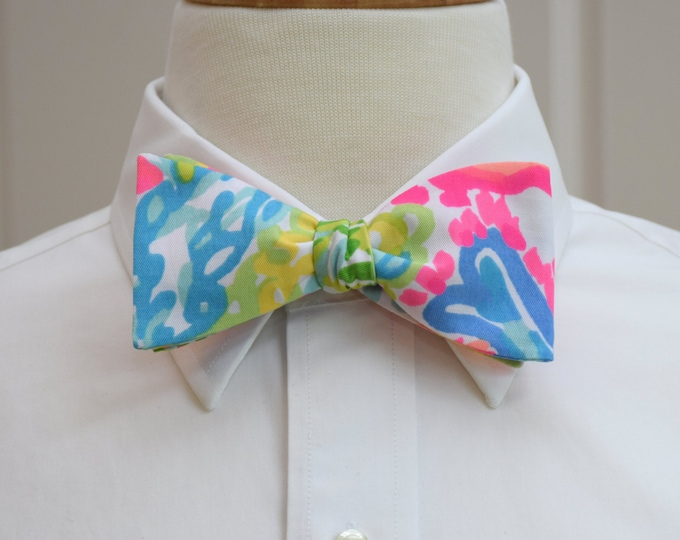 Men's Bow Tie, Lovers Coral multi color Lilly print, hot pink/sky blue bow tie, groom/groomsmen bow tie, wedding bow tie, prom bow tie
