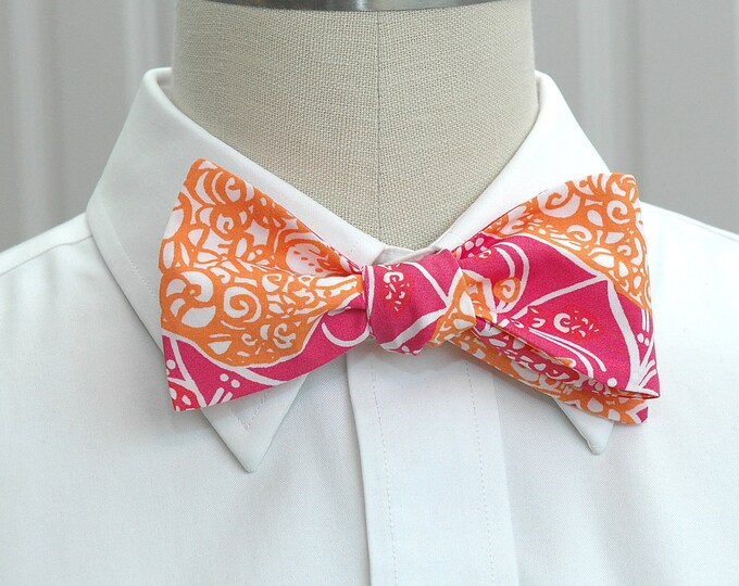 Men's Bow Tie, Beverly Hills Bubbly, hot pink/orange Lilly print, wedding bow tie, groom/groomsmen bow tie, prom bow tie, Derby bow tie