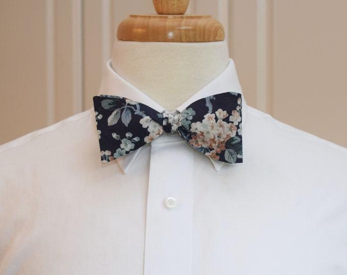 Men's Bow Tie, Liberty of London, dark navy floral Josephine print bow tie, groom/groomsmen bow tie, wedding bow tie, tuxedo accessory