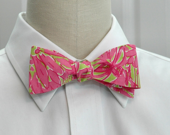 Men's Bow Tie, Secret Garden hot pink and lime green Lilly bow tie, wedding bow tie, groom/groomsmen bow tie, prom bow tie, tuxedo accessory