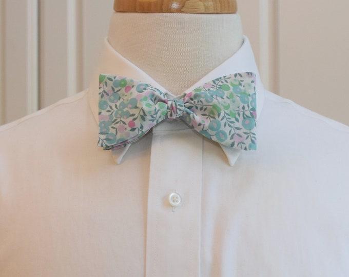 Mens Bow Tie, Liberty of London, pastel aqua/green/lilac Wiltshire bow tie, groomsmen/groom bow tie, wedding bow tie, easter, spring wedding