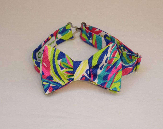 Boy's Lilly Bow Tie in multi color Toucan Play print, father/son matching ties, wedding accessory, toddler bow tie, ring bearer bow tie,