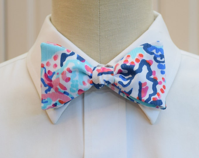 Men's Bow Tie, blues/aqua/pinks abstract print bow tie, wedding bow tie, groom/groomsmen bow tie, prom bow tie, pastels bow tie, Florida