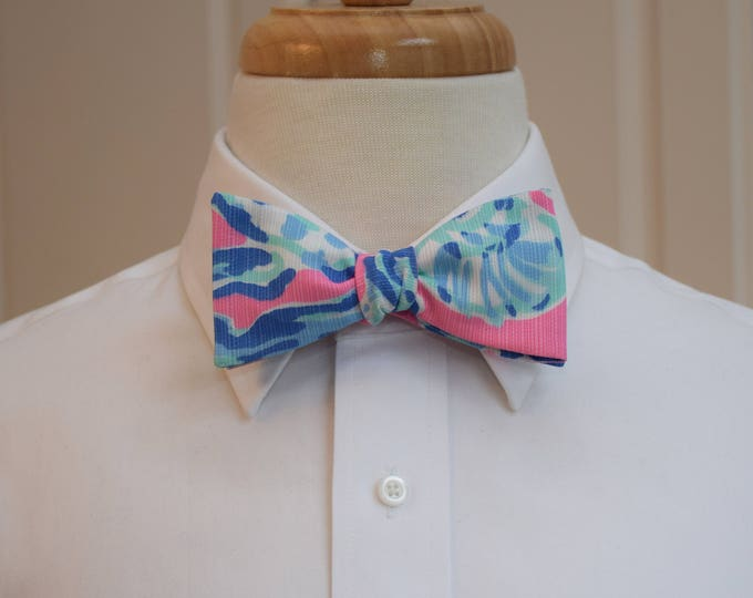 Men's Bow Tie, Barefoot Princess pink/blue Lilly print, groom/groomsmen, wedding bow tie, preppy bow tie, Carolina Cup tie, prom bow tie
