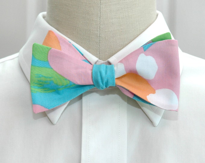 Men's Bow Tie, Mojo turquoise/pink/white Lilly print bow tie, groomsmen/groom bow tie, wedding bow tie, prom bow tie, Kentucky Derby bow tie