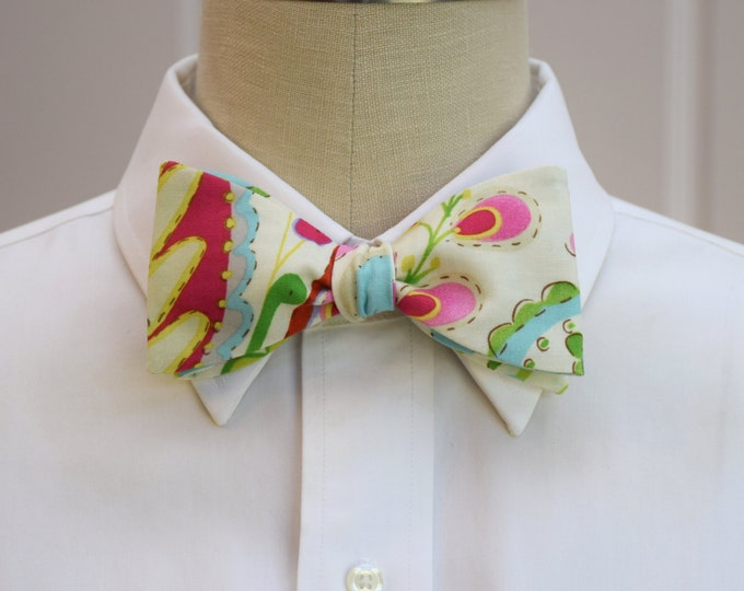 Men's Bow Tie, ivory/multi color floral Indian motif, groom/groomsmen bow tie, paisley floral bow tie, pink/aqua/green wedding bow tie,