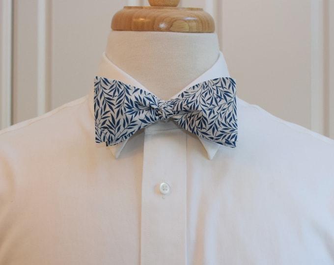 Men's Bow Tie, Liberty of London, navy/ivory Willow Wood leaves print bow tie, groomsmen/groom bow tie, wedding bow tie, tuxedo accessory
