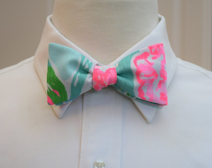 Men's Bow Tie, Going Stag aqua/neon hot pink/green Lilly bow tie, groomsmen/groom bow tie, wedding bow tie, tuxedo accessory, prom bow tie