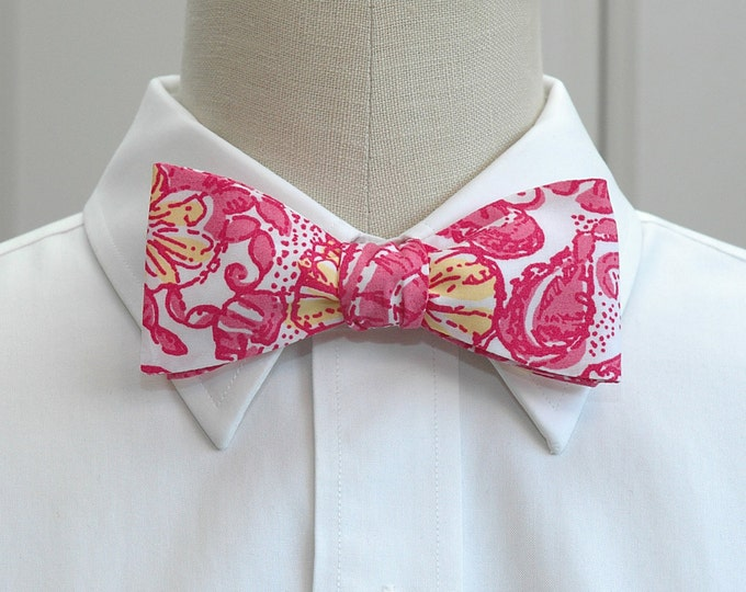 Men's Bow Tie, Chum Bucket, pink/white/yellow Lilly floral bow tie, wedding bow tie, groom/groomsmen bow tie, prom bow tie, tux accessory