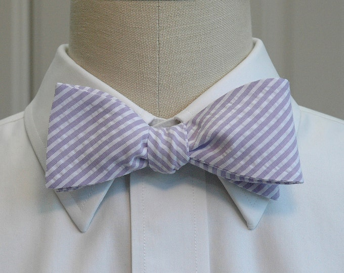 Men's Bow Tie, lilac seersucker, self tie, lavender bowtie, purple bow tie, wedding bow tie, groom bow tie, groomsmen gift, summer bow tie,
