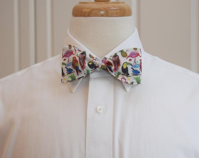 Men's Bow Tie, Liberty of London, Birds of Paradise, wedding bow tie, groom/groomsmen bow tie, bird lover bow tie, exotic, tropical bird tie