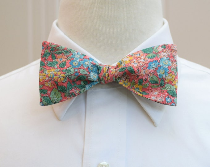 Men's Bow Tie, Liberty of London, coral/green/aqua floral print, groomsmen/groom bow tie, wedding bow tie, Prince George, English bow tie
