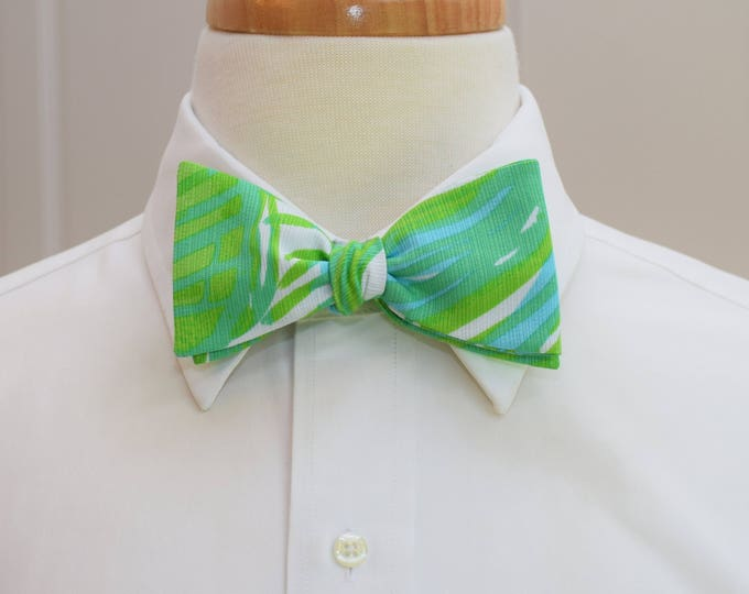 Men's Bow Tie, Fronds Place tropical green Lilly print, green/blue bow tie, palm leaves bow tie, wedding bow tie, groom/groomsmen bow tie
