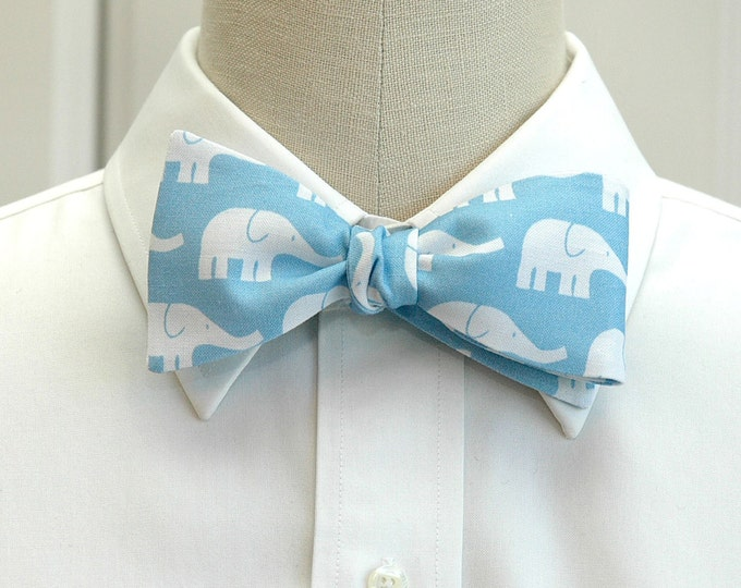 Men's Bow Tie, pale blue, white elephants bow tie, groom bow tie, groomsmen gift, zoo wedding bow tie, elephant bow tie, animal lover tie,