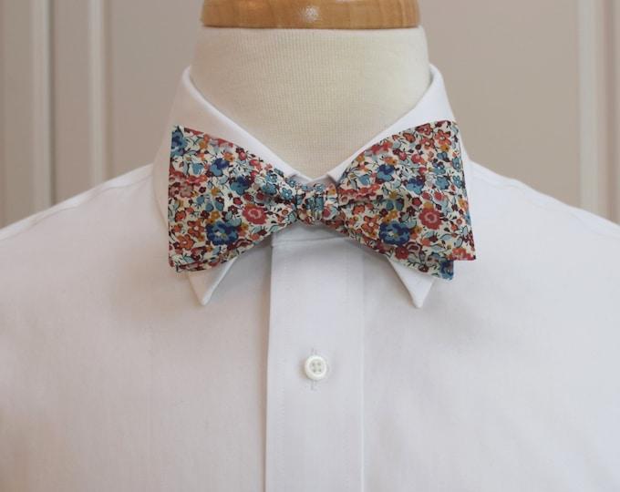 Men's Bow Tie, Liberty of London blues/russet/ivory floral Emma & Georgina print bow tie, groom/groomsmen/wedding bow tie, tuxedo accessory
