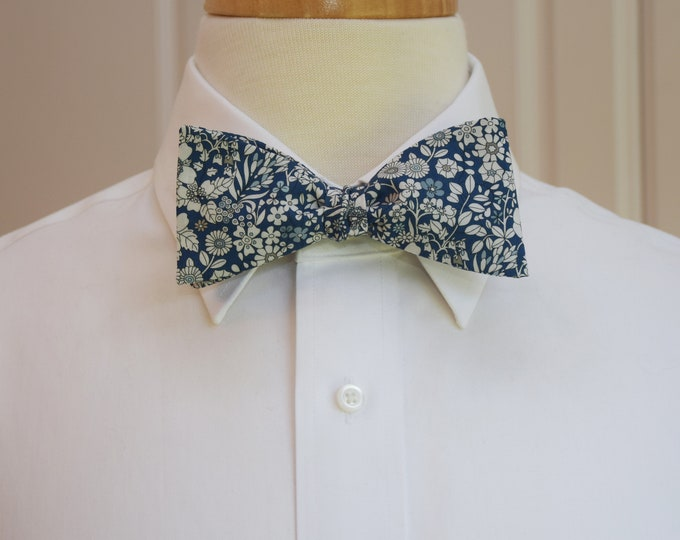 Men's Bow Tie, Liberty of London navy/ivory floral June's Meadow print, groomsmen/groom bow tie, wedding bow tie, classic tuxedo accessory