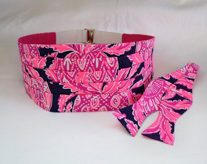 Cummerbund & Bow Tie set, Coco Safari navy/hot pink pineapples Lilly print, formal wedding party wear, tuxedo accessory, prom cummerbund
