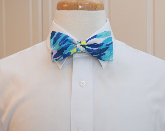 Men's Bow Tie, Dive In blues/turquoise/multi neon bright Lilly 2019 print, groom/groomsmen bow tie, Kentucky Derby bow tie, prom bow tie