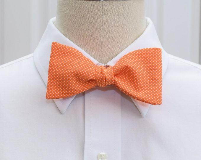 Men's Bow Tie, orange white pin dots bow tie, wedding party bow tie, grooms bow tie, groomsmen gift, orange bow tie, tuxedo accessory,