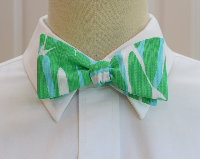 Men's Bow Tie, Finders Keepers aqua/green Lilly print , wedding bow tie, groom/groomsmen bow tie, prom bow tie, Carolina Cup, Derby bow tie