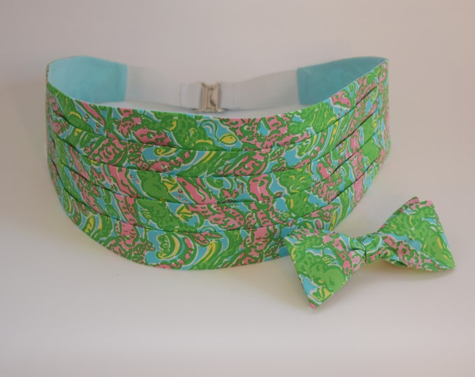 Men's Cummerbund & Bow Tie, green/pink/aqua Chomp Chomp Lilly alligator print, wedding party cummerbund set, tux accessory, prom cummerbund
