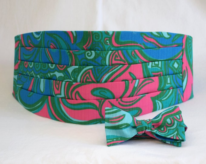 Cummerbund & Bow Tie, teal Lilly Lounge, groom formal wear, wedding party wear, Lilly menswear, tuxedo accessory, custom preppy cummerbund