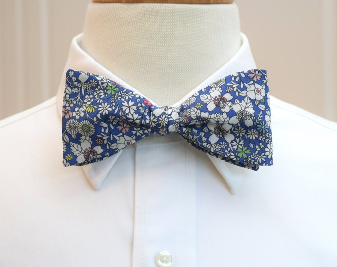 Men's Bow Tie, Liberty of London cobalt blue/ivory June's Meadow floral bow tie, groomsmen/groom bow tie, wedding bow tie, tuxedo accessory