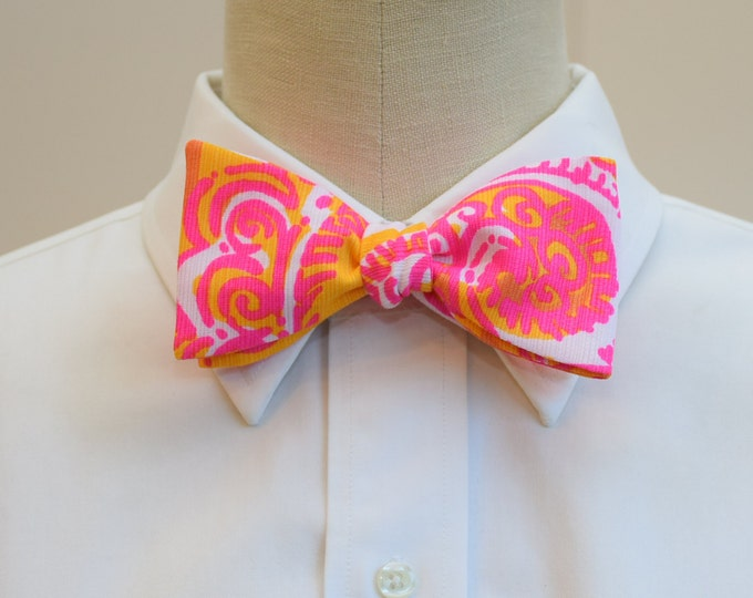 Men's Bow Tie, Sea and Be Seen neon pink and orange Lilly print, groom/groomsmen bow tie, wedding bow tie, pink/orange bow tie, prom bow tie