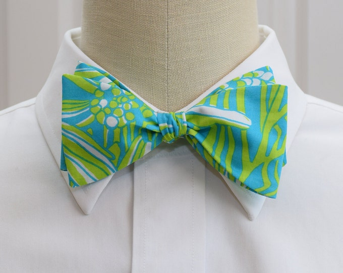 Men's Bow Tie, Daisy Darling turquoise and lime Lilly print, floral blue Lilly bow tie, wedding bow tie, groom bow tie, groomsmen gift,