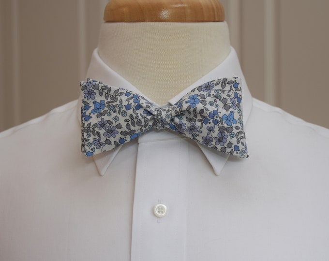 Men's Bow Tie, Liberty of London blues/gray floral Emilia's Bloom print, groom/groomsmen/wedding bow tie, classic English tuxedo accessory