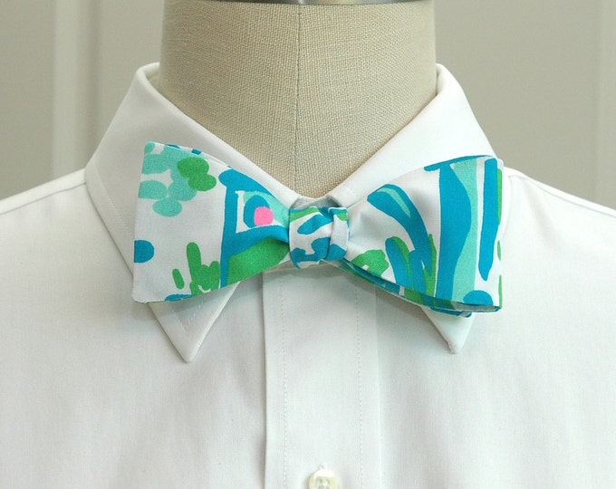 Men's Bow Tie, High Beams Lilly turquoise & aqua print, wedding bow tie, beach wedding bow tie, groom bow tie, prom bow tie, tux accessory