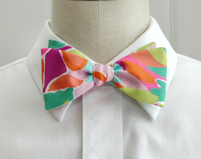 Men's Bow Tie, Lulu multi color bright tropical Lilly print bow tie, groomsmen gift, wedding party bow tie, jungle print tie, groom bow tie