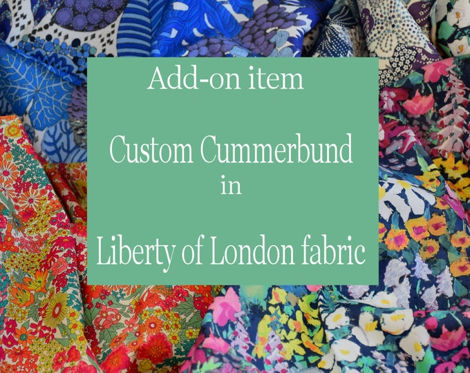 Custom handmade cummerbund, LIBERTY of LONDON fabric, wedding party attire, tuxedo accessory, groom formal wear, formal wedding attire