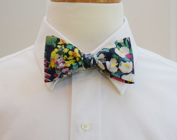 Men's Bow Tie, Liberty of London, navy/pink/multi floral Painters Meadow bow tie, groomsmen/groom bow tie, wedding bow tie, tux accessory