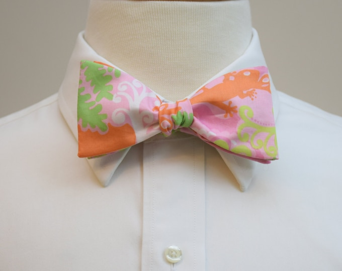 Men's Bow Tie, Check In Lilly print, pink/orange/green bow tie, wedding bow tie, groom bow tie, groomsmen gift, prom bow tie, tux accessory