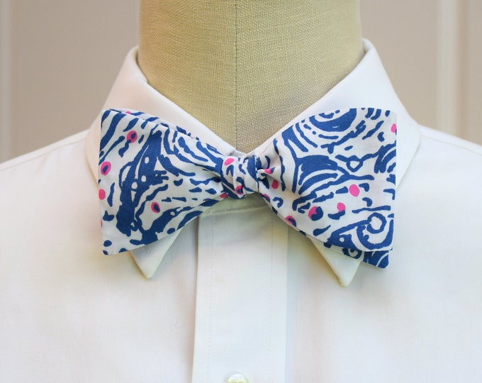 Men's Bow Tie, Star Crush dark blue/pink/ivory Lilly print abstract stars bow tie, groomsmen/groom bow tie, wedding bow tie, prom bow tie,