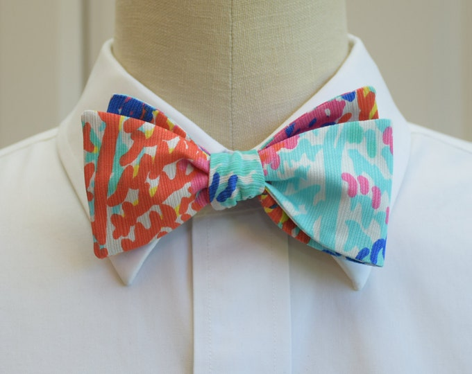 Men's Bow Tie, Electric Feel, turquoise/multi color Lilly print, wedding bow tie, prom bowtie, groom bow tie, tux accessory, groomsmen gift,