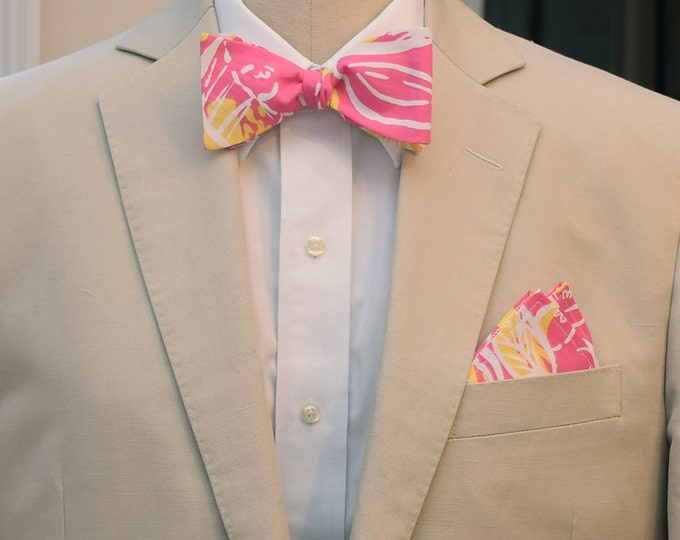 Men's Pocket Square and Bow Tie, pink and yellow Fruity Lilly print, wedding party wear, groomsmen gift, groom bow tie set, men's gift set