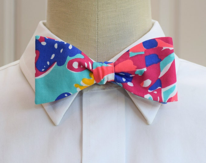 Men's Bow Tie, turquoise, pink, multi color, retro, wedding party bow tie, groom/groomsmen gift, Kentucky Derby, beach, prom/formals, tuxedo