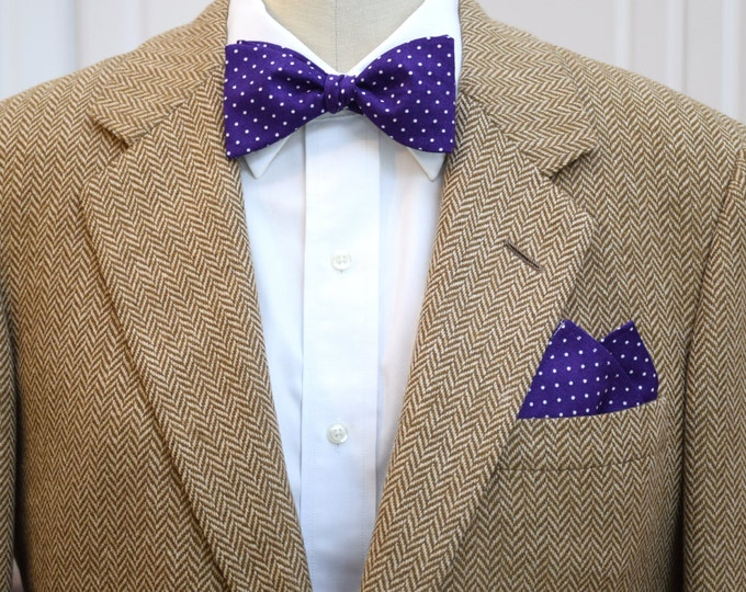 Men's Pocket Square and Bow Tie in royal purple with white pin dots, wedding party wear, groomsmen gift, groom bow tie set, men's gift set