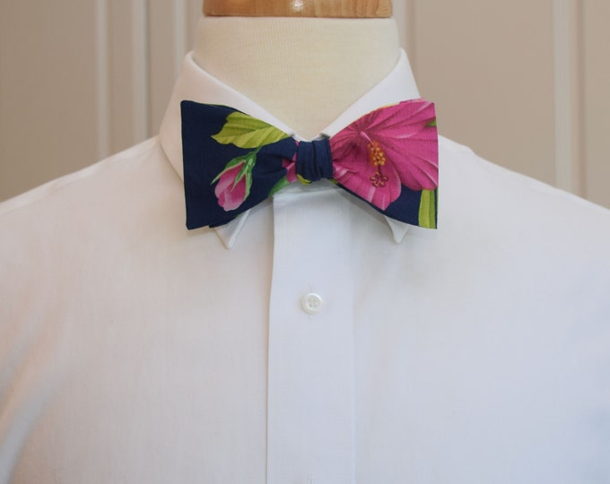Men's Bow Tie, Hawaii tropical bow tie, navy/green/pink/yellow floral bow tie , hibiscus/plumeria, wedding bow tie, groom/groomsmen bow tie,