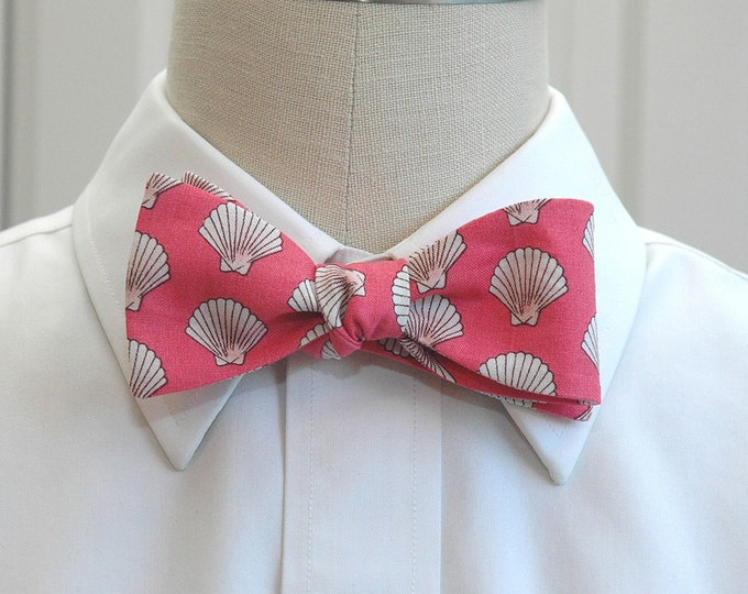 Men's Bow Tie, coral with ivory shells, beach wedding bow tie, groom bow tie, groomsmen gift, Florida bow tie, destination wedding bow tie