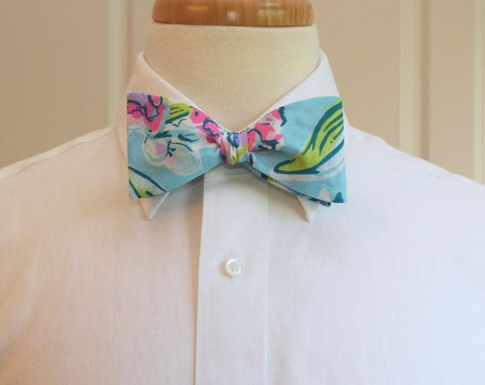 Men's Bow Tie, Sway This Way 2019 blues/pinks/greens Lilly floral bow tie, groomsmen/groom bow tie, wedding bow tie, Kentucky Derby bow tie