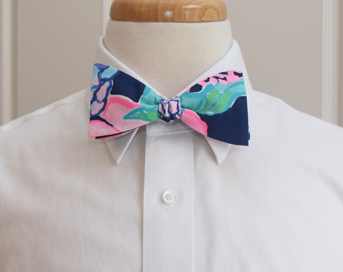 Men's Bow Tie, Hey Hey Bouquet navy/pink/blue/green big floral Lilly print, wedding/groom/groomsmen bow tie, prom bow tie, tuxedo accessory
