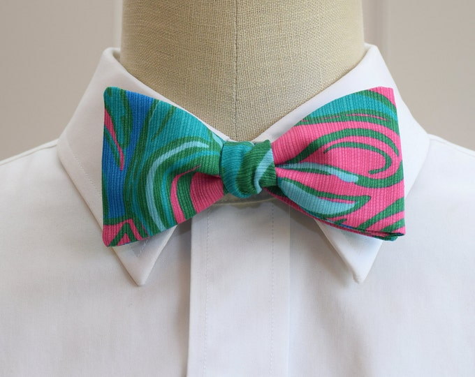 Men's Bow Tie, Lilly Lounge bow tie, teal pink bow tie, teal cobalt bow tie, wedding bow tie, groom bow tie, groomsmen gift, prom bow tie