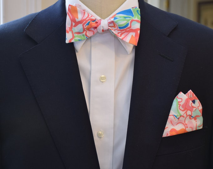 Men's Pocket Square & Bow Tie, coral/aqua Lucky Charms  Lilly floral print, wedding party wear, groomsmen gift, groom bowtie set, prom set